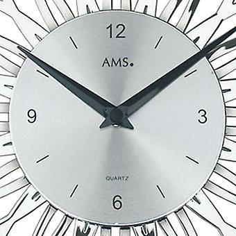 Quartz wall clock wall clock Quartz Watch Silver floral design in plastic