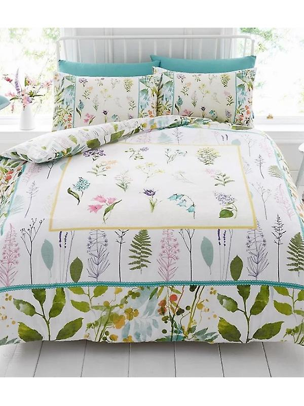Botanical Flowers Duvet Cover and Pillowcase Set