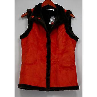 Denim & Co. Women's Faux Suede Snap Front Vest w/Faux Fur Orange A211815