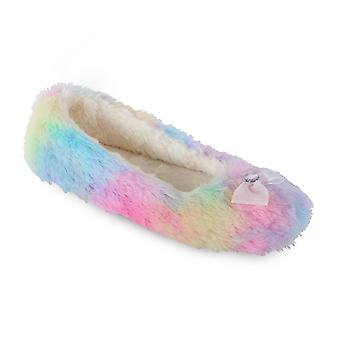 Women's/Ladies Footwear Plush Rainbow Ballet Slippers With PVC Pin Dot Sole, Various Sizes