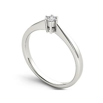 IGI Certified 10k White Gold 0.1 Ct Round Cut Diamond Solitaire Engagement Ring
