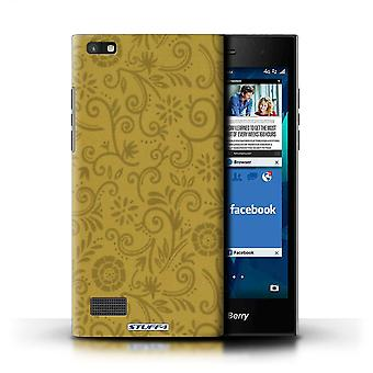 STUFF4 Case/Cover for Blackberry Leap/Yellow Flower/Floral Swirl Pattern