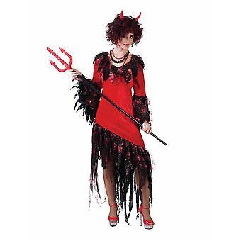 Flames Fire Devil Costume Ladies Hell Halloween Satan Dress Women's Costume
