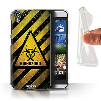 STUFF4 Gel/TPU Case/Cover for HTC Desire 826/Biohazard/Hazard Warning Signs