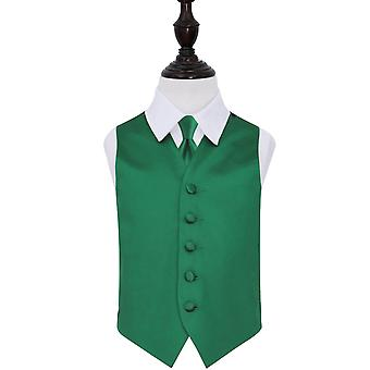 Boy's Emerald Green Plain Satin Wedding Waistcoat & Tie Set