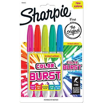 Color Burst Permanent Markers Fine 5/Pkg-Assorted 1948352