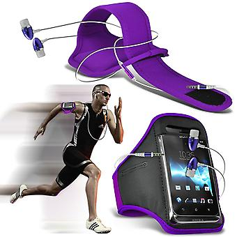 ( Dark Purple + Earphones) Yezz Andy C5QL case High Quality Fitted Sports Armbands Cover By i-Tronixs