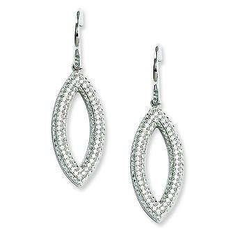 Sterling Silver Pave Shepherd hook Rhodium-plated and Cubic Zirconia Brilliant Embers Dangle Earrings