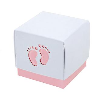 10 Pink Baby Footprint Boxes - Baby Showers   Cardboard Gift Boxes