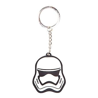 Star Wars The Force Awakens Unisex 3D Stormtrooper Mask Rubber Keychain One Size White/Black (KE197622STW)