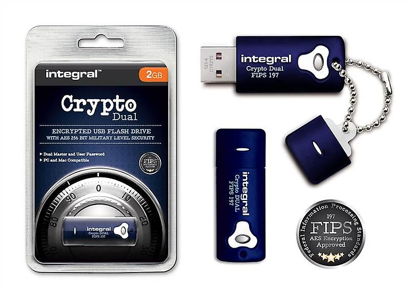 Integral Secure Encrypted 2GB USB Stick - 256 Bit Military Security for PC & Mac