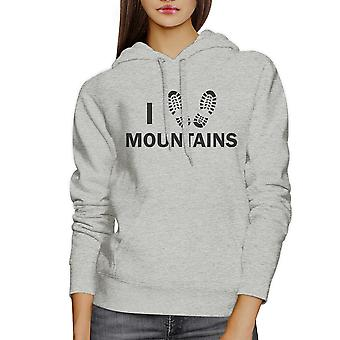 I Heart Mountains Unisex Hoodie Funny Gift Idea For Hiking Lovers