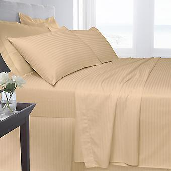 Egyptian Cotton Satin Stripe 250 Thread Fitted Bed Sheet Bed Linen