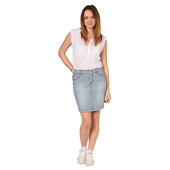 Knee Length Hickory Stripe denim skirt blue and white striped (66)