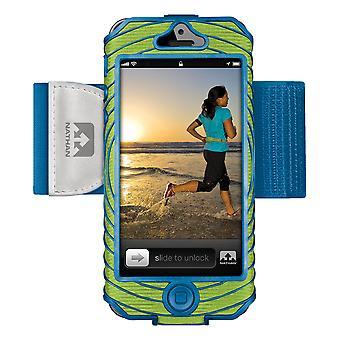 Nathan Sonic Boom Oberarmtasche für iPhone 5 Lime-Blue