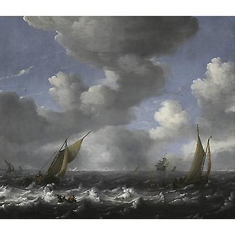 Ludolf Backhuysen - Seascape and Fishing Boats Poster Print Giclee