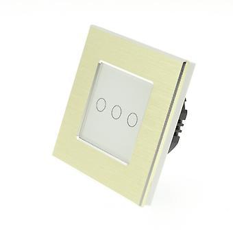 Yo LumoS oro cepillado interruptor aluminio 3 cuadrilla 1 manera remoto táctil LED luz blanco inserto