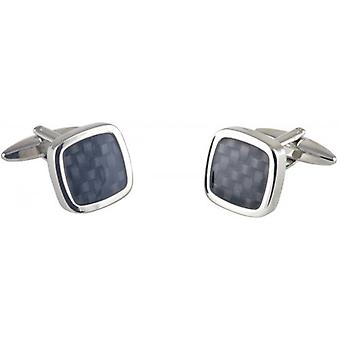 David Van Hagen Epoxy Weave Effect Square Cufflinks - Silver/Grey