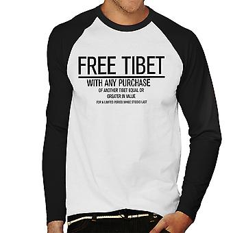 Free Tibet With Any Purchase Men's Baseball Long Sleeved T-Shirt