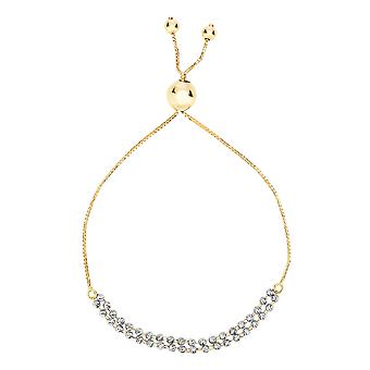 Diamond Cut Double Beaded Strand Bolo Friendship Adjustable Bracelet In 14K Gold, 9.25