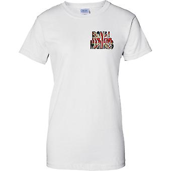 Royal Marines Commando Union Jack Flag - Ladies Chest Design T-Shirt