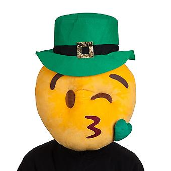 St Patrick's Day Yellow Plush Kissey Face Mascot Mask With Green Hat & Glasses