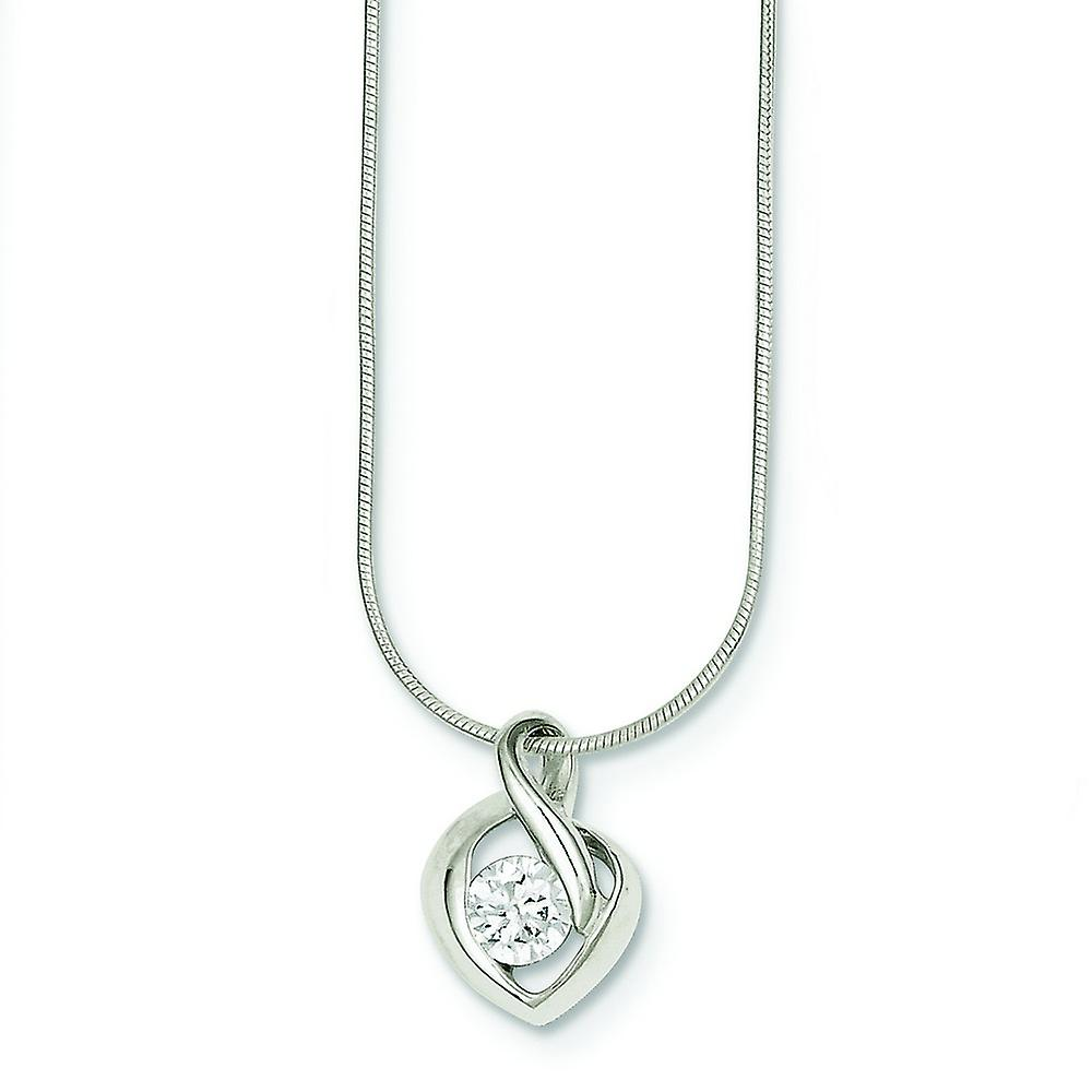 Sterling argent Solid Polished Lobster Claw Closure Cubic Zirconia Pendant With Chain - 18 Inch - Lobster Claw