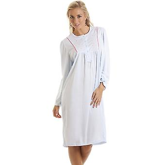 Camille Blue Nightdress Womens Cute Embroidered Night Shirt