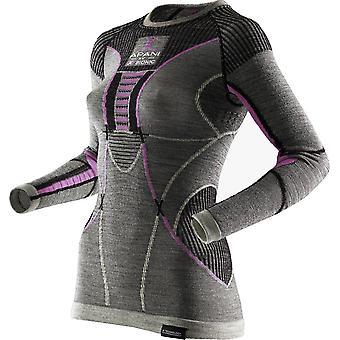 Apani damer shirt langærmet merino Fastflow grå - I100467-B343