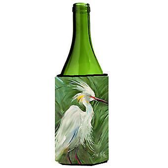 Czapla biała w zielonej trawy wino butelka napoju izolator Hugger