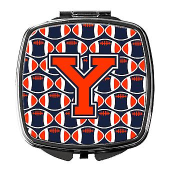 Letter Y Football Orange, Blue and white Compact Mirror