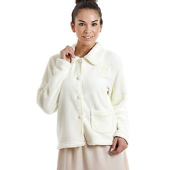 Camille Womens Ivory Soft Warm Fleece Bed Jacket