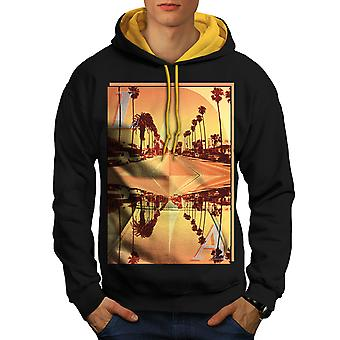 Los Angeles City Holiday hommes noir (capot or) contraste Hoodie | Wellcoda