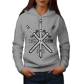 Triple Sword Geek Women GreyHoodie | Wellcoda