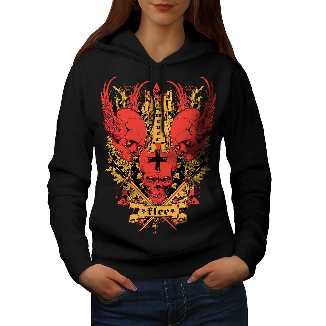 Never Flee Satan Skull Women Black Hoodie | Wellcoda