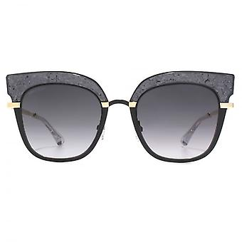Jimmy Choo Rosy Sunglasses In Black Gold Glitter
