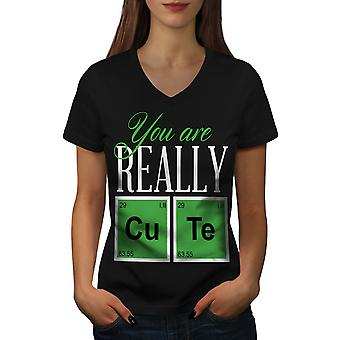 Cute Chemistry Geek Women BlackV-Neck T-shirt | Wellcoda