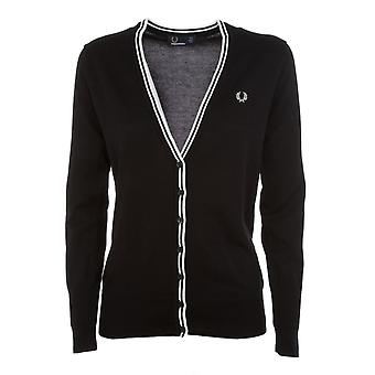 Fred Perry women's FPK861014102 black cotton Cardigan