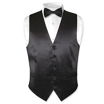 Biagio Men's SILK Dress Vest & Bow Tie Solid BowTie Set for Suit or Tuxedo