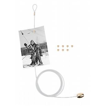 White Magnetic Cable Photo or Card Holder  8 magnets