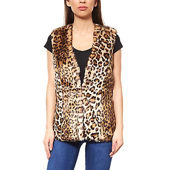 Melrose vest ladies Fake Fur Leoprint Braun