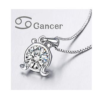 Astro Cancer in Zirconia white Swarovski Crystal pendant and Silver 925