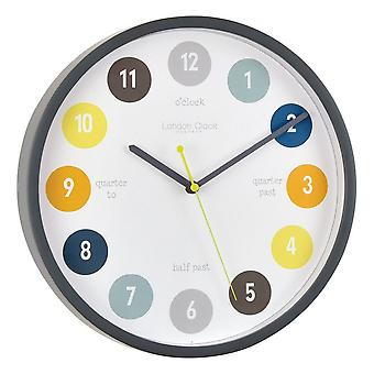 30 cm Kids Tell The Time Wall Clock Grey