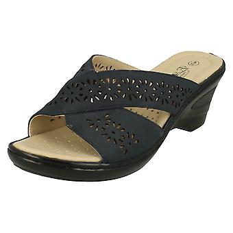 Ladies Eaze Casual Mid Wedge Mules