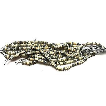 25 + crema/nero Opale dendritiche 1 x 2mm Rondelle sfaccettato Handcut perline SR1350