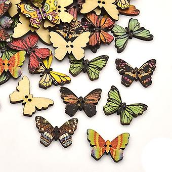 10 x Mixed Wood 17 x 24.5mm Butterfly 2-Holed Patterned Sew On Buttons Y07730