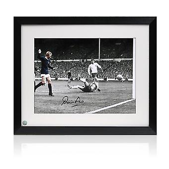 Framed Denis Law Signed Scotland Photograph: Goal Against England