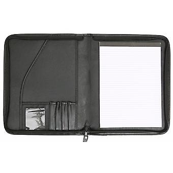 A4 Conference Folder Zipped Folio Case Pu Leather Business Car Manual Organiser