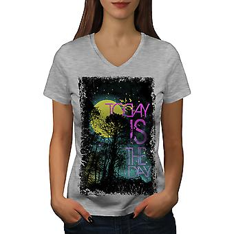 Today Is The Day Horror Women GreyV-Neck T-shirt | Wellcoda