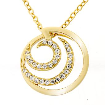 Orphelia Silver 925 Chain With Pendant Round Gold Plated Zirconium  ZH-7084/2